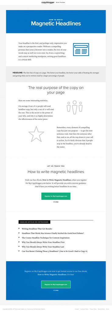 All blog posts archives undullify for example copybloggers landing page for their ebook how to write magnetic headlines serves as a gateway to other articles on their blog about writing fandeluxe Image collections