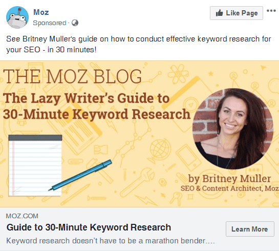 Facebook boosted post example