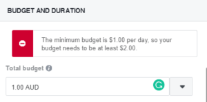 Facebook boost post cost example